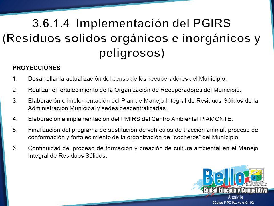 Código F-PC-01; versión 02 PROYECCIONES 1.Desarrollar la actualización del censo de los recuperadores del Municipio. 2.Realizar el fortalecimiento de