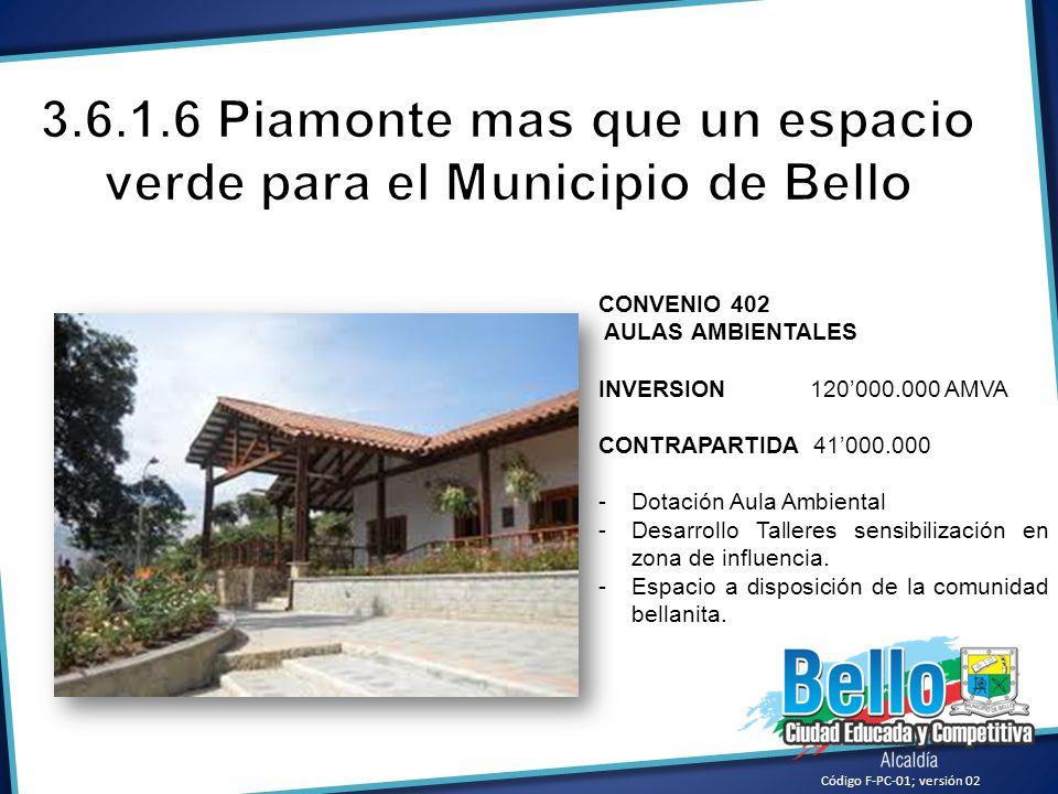 CONVENIO 402 AULAS AMBIENTALES INVERSION120000.000 AMVA CONTRAPARTIDA 41000.000 -Dotación Aula Ambiental -Desarrollo Talleres sensibilización en zona