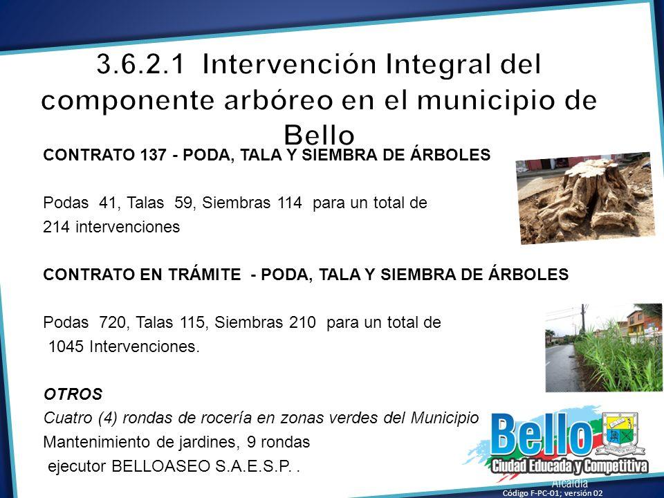 CONTRATO 137 - PODA, TALA Y SIEMBRA DE ÁRBOLES Podas 41, Talas 59, Siembras 114 para un total de 214 intervenciones CONTRATO EN TRÁMITE - PODA, TALA Y