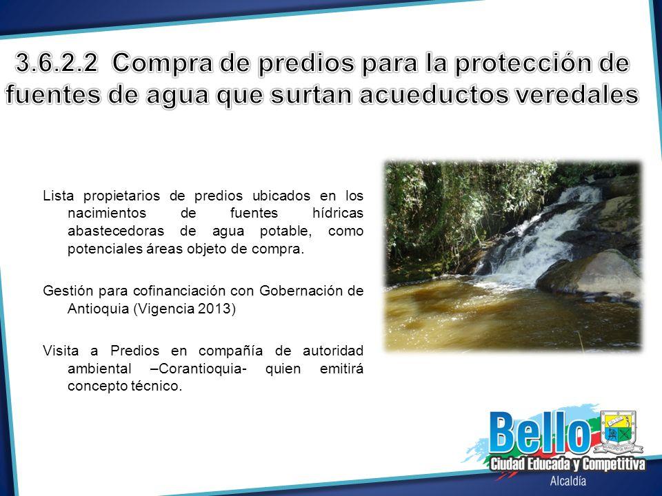 Lista propietarios de predios ubicados en los nacimientos de fuentes hídricas abastecedoras de agua potable, como potenciales áreas objeto de compra.