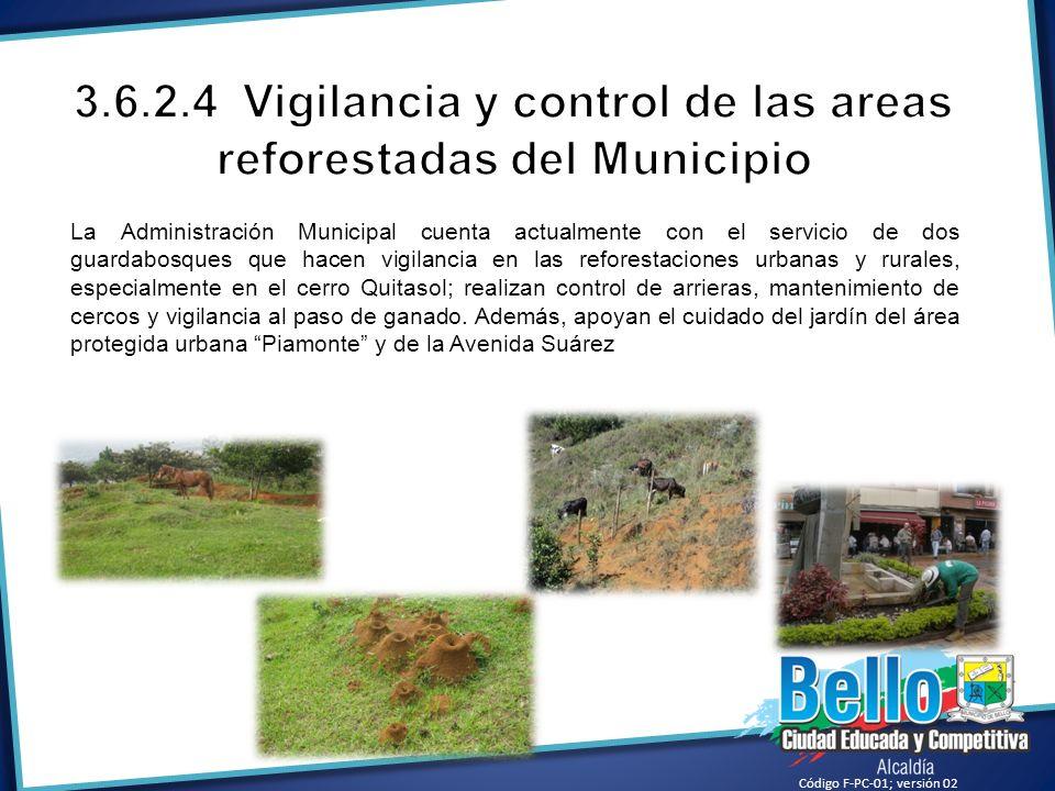 La Administración Municipal cuenta actualmente con el servicio de dos guardabosques que hacen vigilancia en las reforestaciones urbanas y rurales, esp