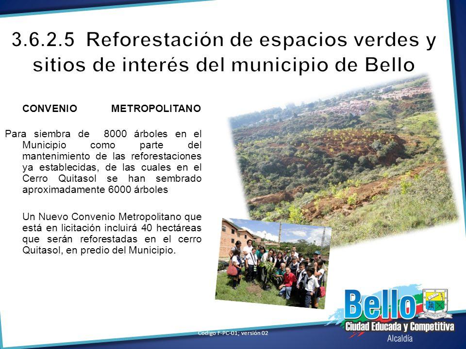CONVENIO METROPOLITANO Para siembra de 8000 árboles en el Municipio como parte del mantenimiento de las reforestaciones ya establecidas, de las cuales