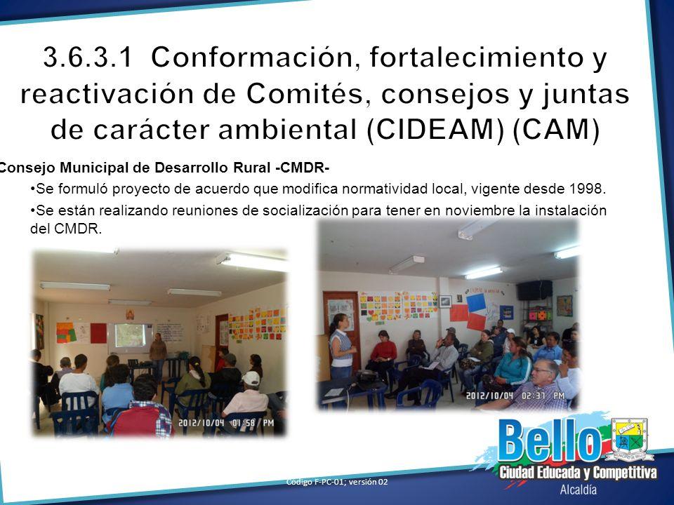 Consejo Municipal de Desarrollo Rural -CMDR- Se formuló proyecto de acuerdo que modifica normatividad local, vigente desde 1998. Se están realizando r
