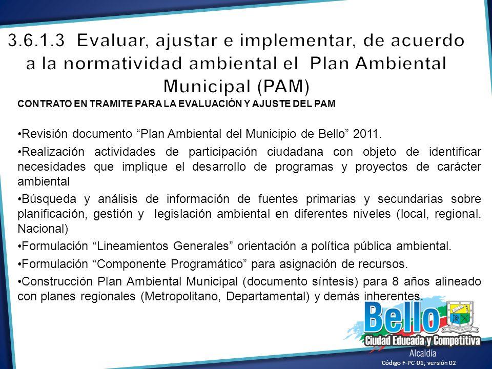 Código F-PC-01; versión 02 CONTRATO EN TRAMITE PARA LA EVALUACIÓN Y AJUSTE DEL PAM Revisión documento Plan Ambiental del Municipio de Bello 2011. Real