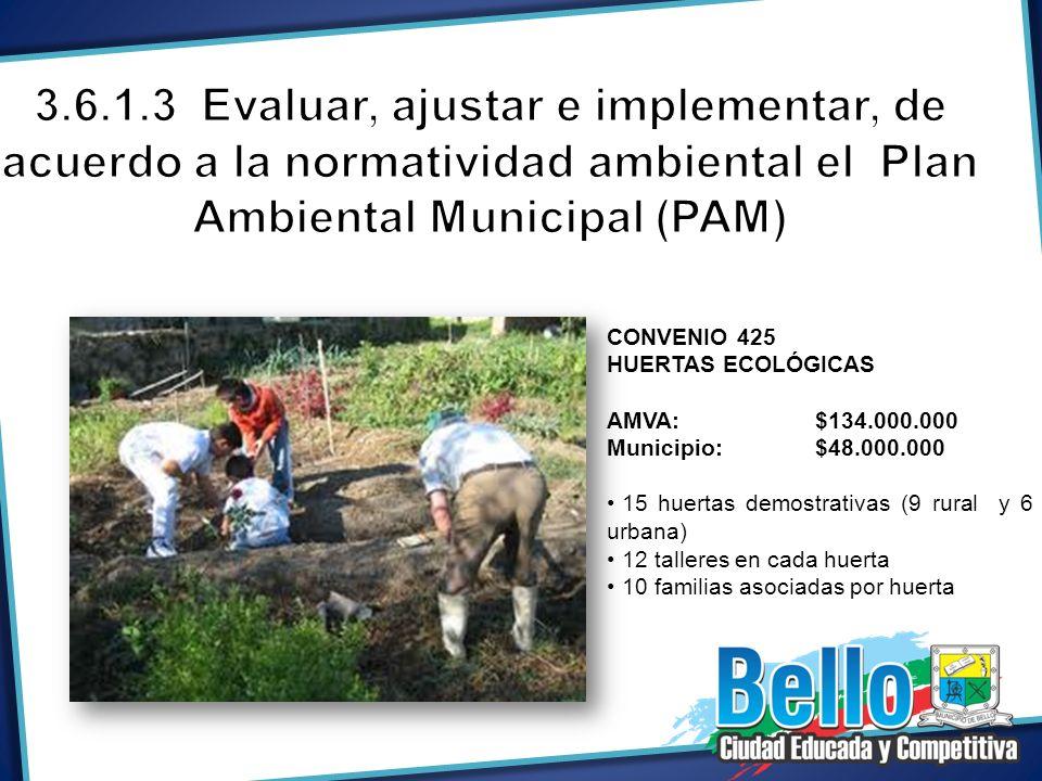 CONVENIO 425 HUERTAS ECOLÓGICAS AMVA: $134.000.000 Municipio:$48.000.000 15 huertas demostrativas (9 rural y 6 urbana) 12 talleres en cada huerta 10 f