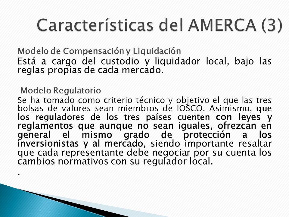Modelo de Compensación y Liquidación Está a cargo del custodio y liquidador local, bajo las reglas propias de cada mercado.