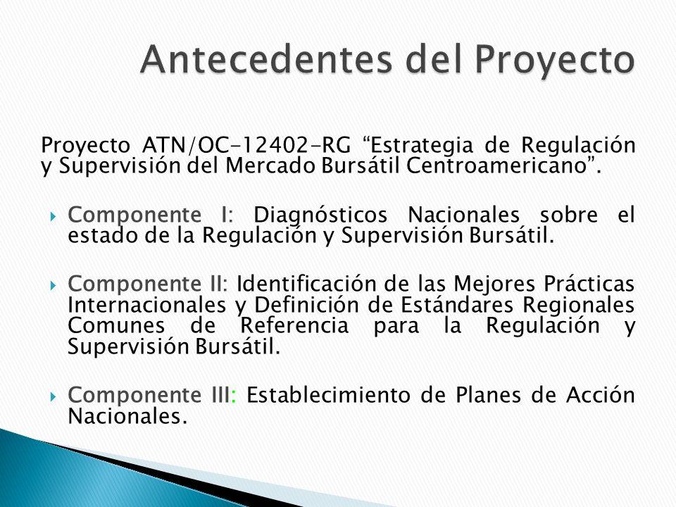 Proyecto ATN/OC-12402-RG Estrategia de Regulación y Supervisión del Mercado Bursátil Centroamericano.