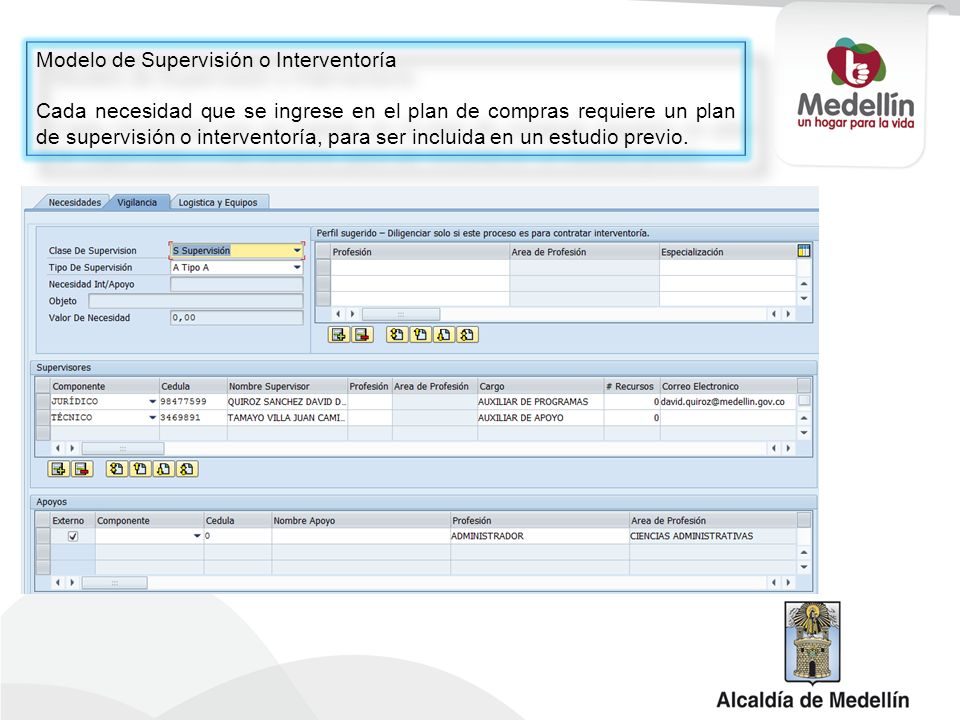 Modelo de Supervisión o Interventoría Cada necesidad que se ingrese en el plan de compras requiere un plan de supervisión o interventoría, para ser in