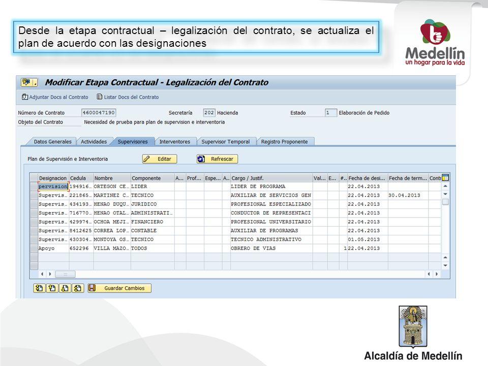 Desde la etapa contractual – legalización del contrato, se actualiza el plan de acuerdo con las designaciones