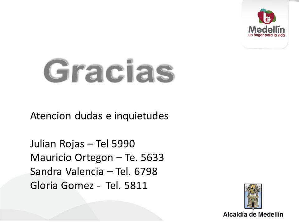 Atencion dudas e inquietudes Julian Rojas – Tel 5990 Mauricio Ortegon – Te. 5633 Sandra Valencia – Tel. 6798 Gloria Gomez - Tel. 5811