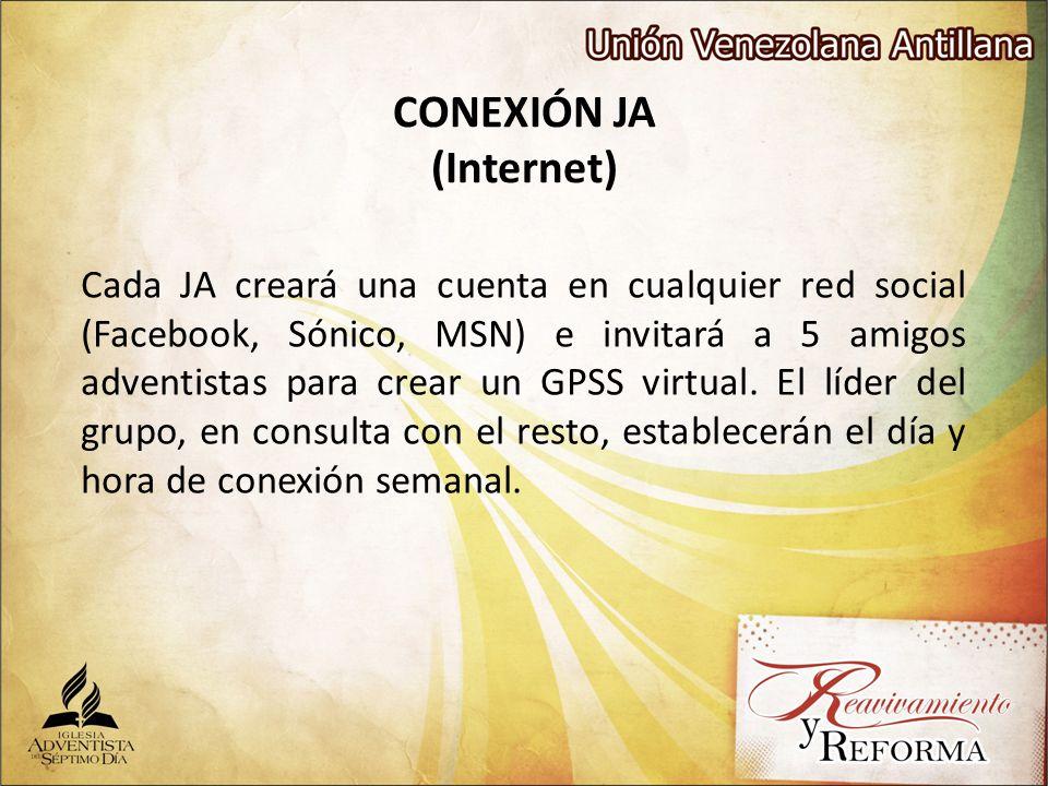 CONEXIÓN JA (Internet) Cada JA creará una cuenta en cualquier red social (Facebook, Sónico, MSN) e invitará a 5 amigos adventistas para crear un GPSS