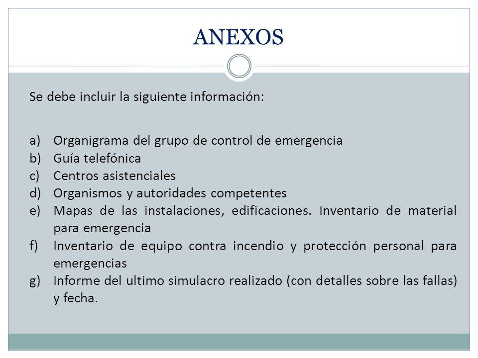1. Objetivos 2. Determinar las emergencias que se han de cubrir 3. Determinación de las responsabilidades 4. Determinar las funciones de cada uno de l