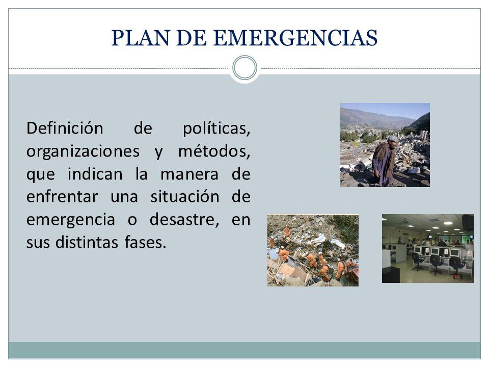 Definición de políticas, organizaciones y métodos, que indican la manera de enfrentar una situación de emergencia o desastre, en sus distintas fases.