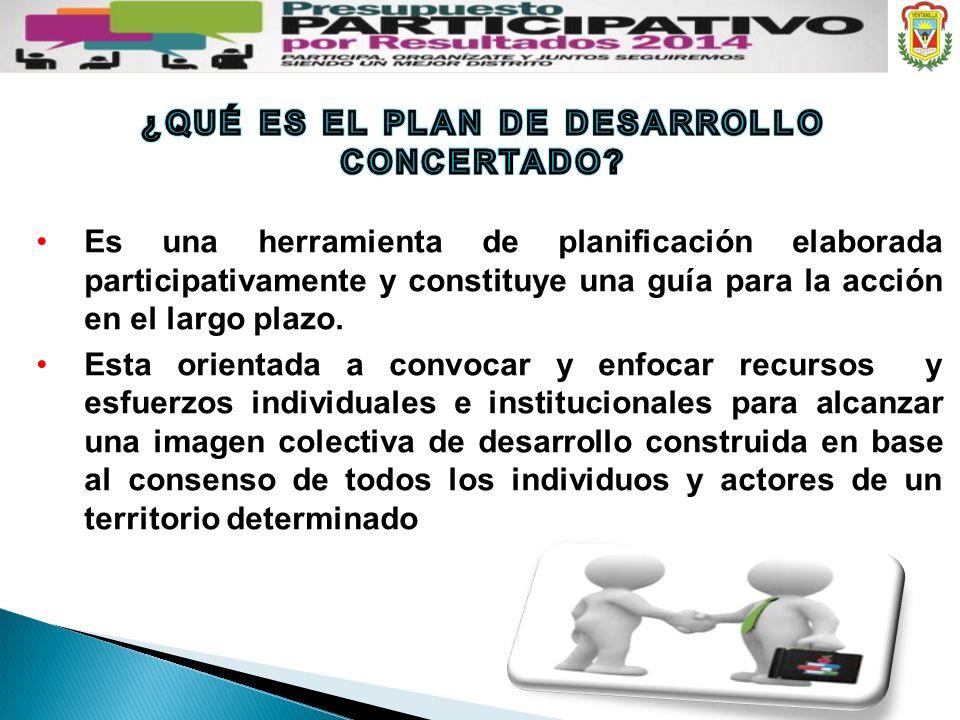 Es una herramienta de planificación elaborada participativamente y constituye una guía para la acción en el largo plazo. Esta orientada a convocar y e