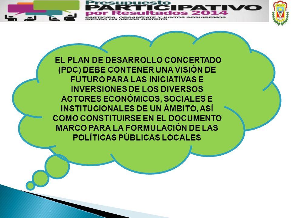 EL PLAN DE DESARROLLO CONCERTADO (PDC) DEBE CONTENER UNA VISIÓN DE FUTURO PARA LAS INICIATIVAS E INVERSIONES DE LOS DIVERSOS ACTORES ECONÓMICOS, SOCIA