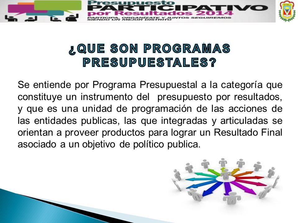 Se entiende por Programa Presupuestal a la categoría que constituye un instrumento del presupuesto por resultados, y que es una unidad de programación