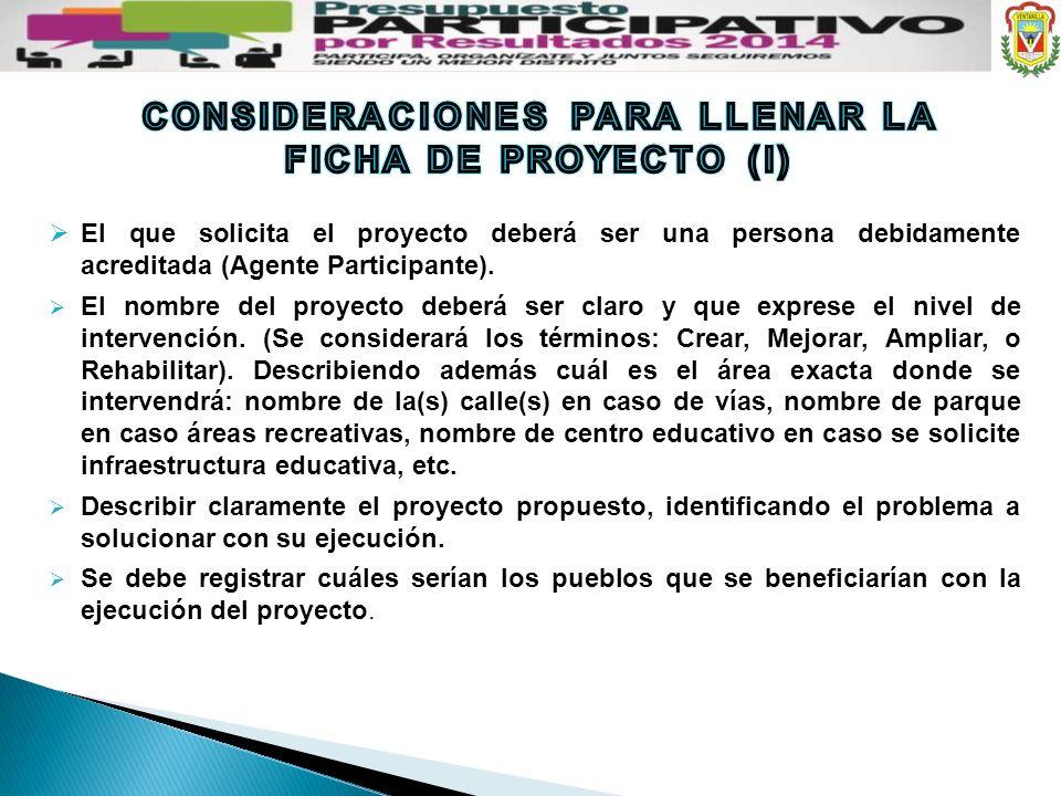 El que solicita el proyecto deberá ser una persona debidamente acreditada (Agente Participante). El nombre del proyecto deberá ser claro y que exprese