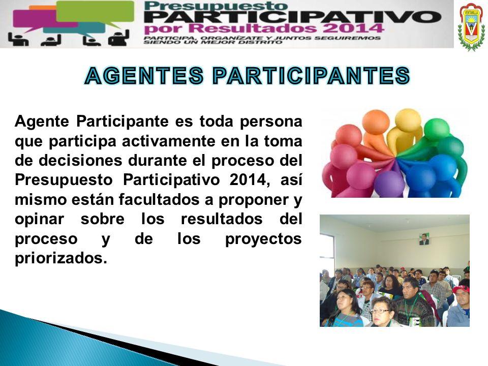 Agente Participante es toda persona que participa activamente en la toma de decisiones durante el proceso del Presupuesto Participativo 2014, así mism