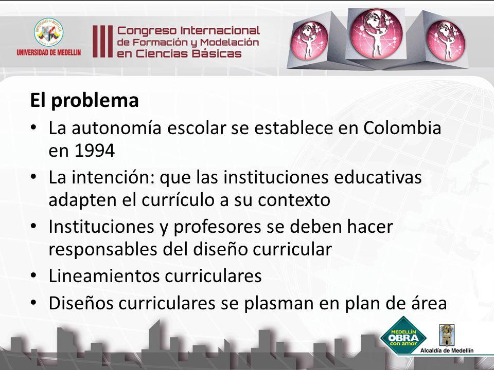 El problema La autonomía escolar se establece en Colombia en 1994 La intención: que las instituciones educativas adapten el currículo a su contexto In