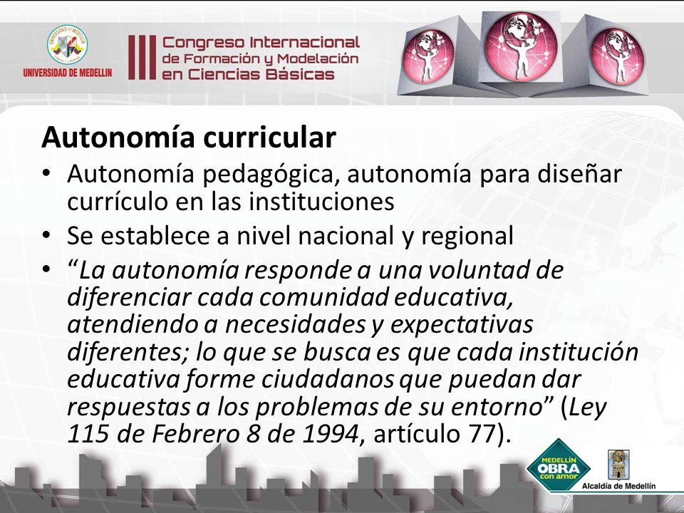 Autonomía curricular Autonomía pedagógica, autonomía para diseñar currículo en las instituciones Se establece a nivel nacional y regional La autonomía