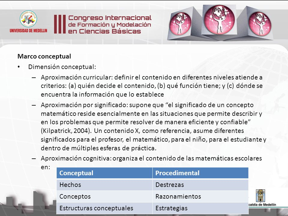 Marco conceptual Dimensión cognitiva (Lupiáñez, 2009), (Rico y Lupiañez, 2008) – Diferentes niveles de generalidad de las expectativas de aprendizaje: Competencia: procesos generales que se desarrollan de manera transversal a los contenidos del currículo y representan una meta a alcanzar tras un proceso de largo recorrido Estándar, Objetivo general: expectativa de aprendizaje que se precisa en un grado y se ubica dentro un contenido general de ese grado, sin estar vinculado a un tema concreto, Objetivo: vinculado a un grado concreto; asociado a un contenido matemático específico; no puede reducirse a un procedimiento matemático rutinario; Capacidad: expectativa del profesor sobre la actuación de un estudiante con respecto a cierto tipo de tarea de tipo rutinario asociada a un tema matemático; se manifiestan mediante conductas observables de los estudiantes.