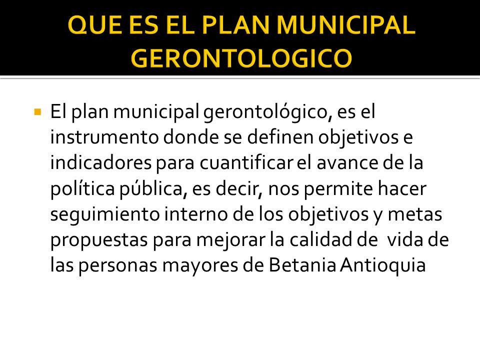 El plan municipal gerontológico, es el instrumento donde se definen objetivos e indicadores para cuantificar el avance de la política pública, es decir, nos permite hacer seguimiento interno de los objetivos y metas propuestas para mejorar la calidad de vida de las personas mayores de Betania Antioquia