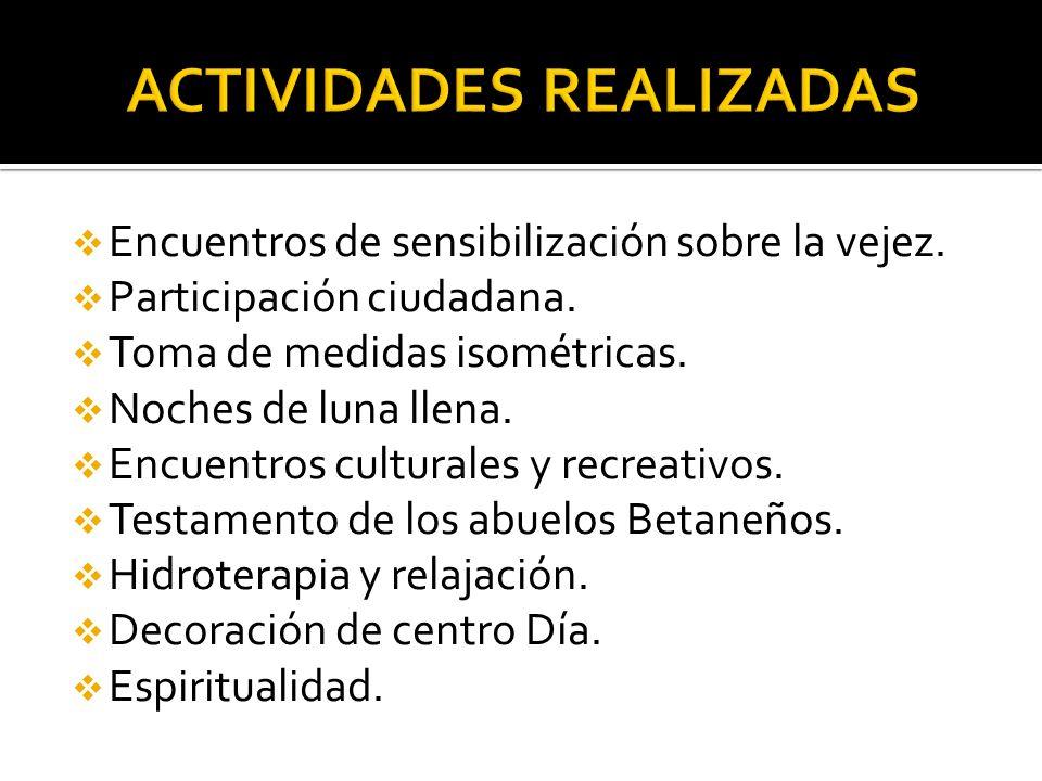 Encuentros de sensibilización sobre la vejez.Participación ciudadana.