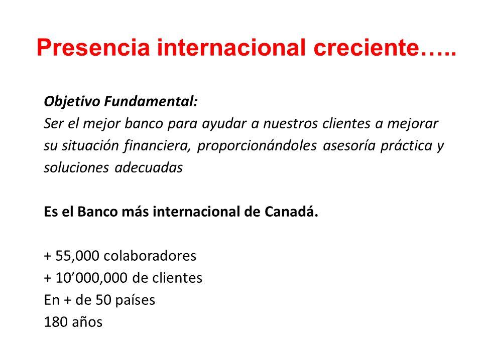 Presencia internacional creciente….. Objetivo Fundamental: Ser el mejor banco para ayudar a nuestros clientes a mejorar su situación financiera, propo