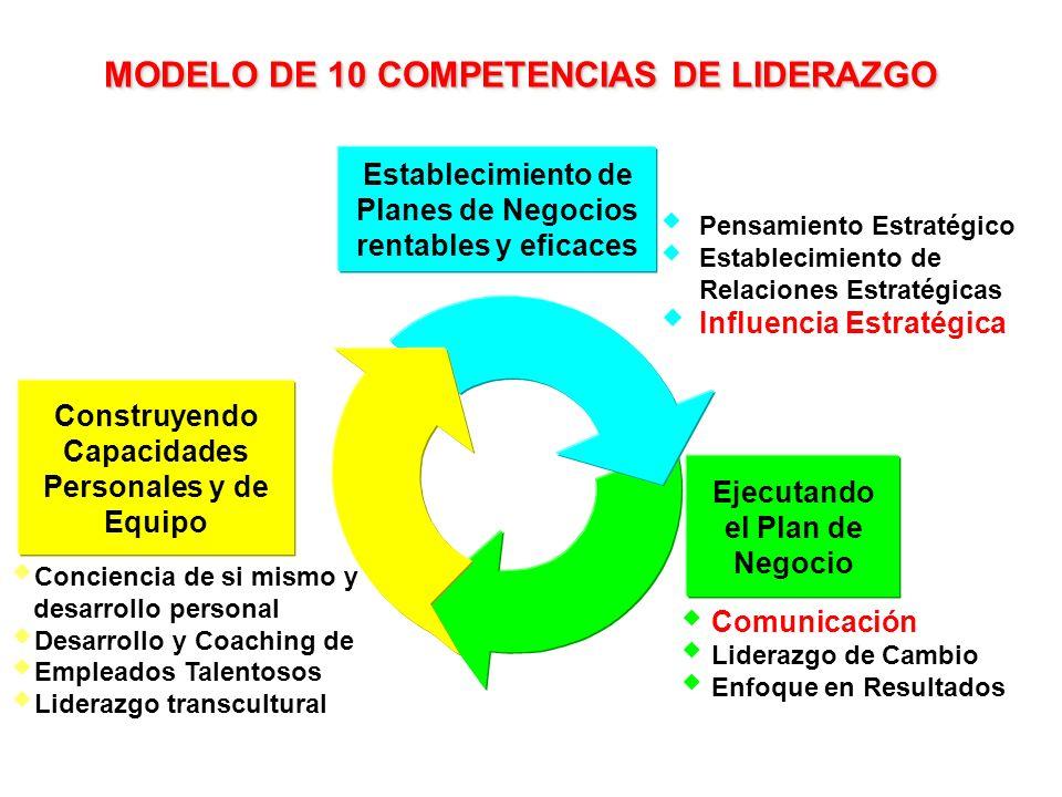 Comunicación Liderazgo de Cambio Enfoque en Resultados Ejecutando el Plan de Negocio Establecimiento de Planes de Negocios rentables y eficaces Pensam