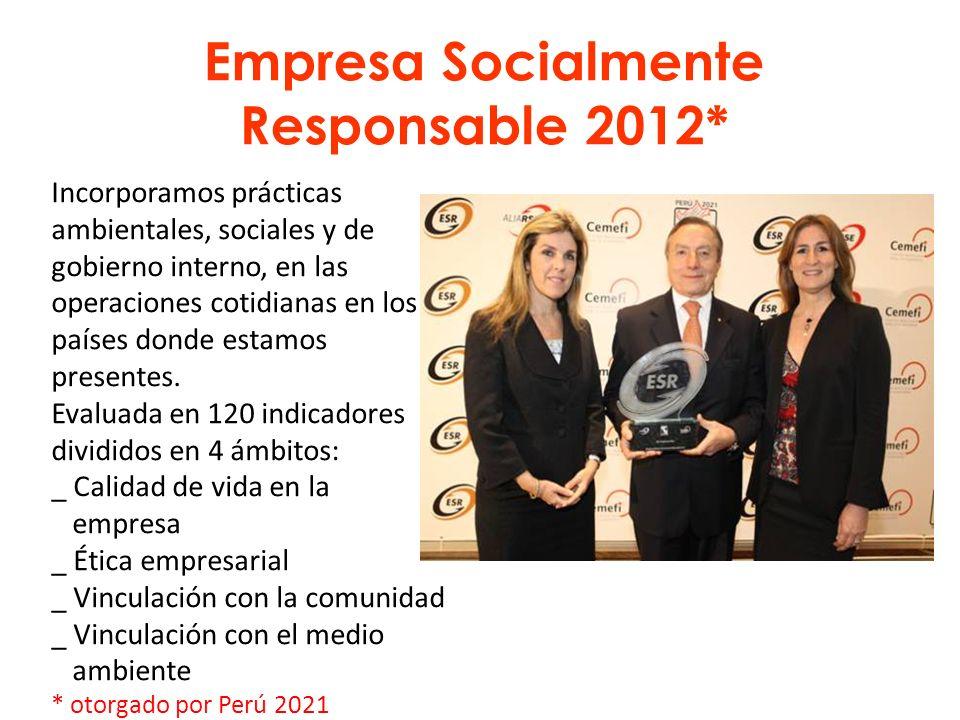 Empresa Socialmente Responsable 2012* Incorporamos prácticas ambientales, sociales y de gobierno interno, en las operaciones cotidianas en los países