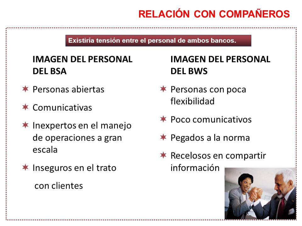 RELACIÓN CON COMPAÑEROS IMAGEN DEL PERSONAL DEL BSA Personas abiertas Comunicativas Inexpertos en el manejo de operaciones a gran escala Inseguros en