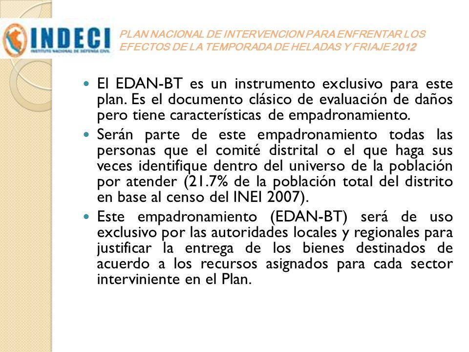 012 PLAN NACIONAL DE INTERVENCION PARA ENFRENTAR LOS EFECTOS DE LA TEMPORADA DE HELADAS Y FRIAJE 2012 El EDAN-BT es un instrumento exclusivo para este
