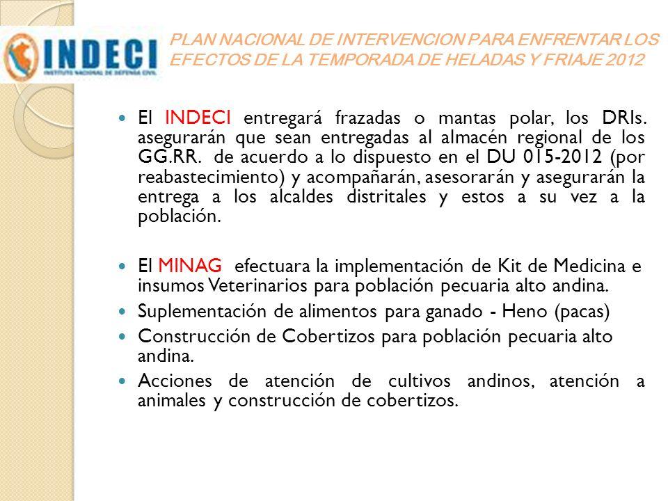 El INDECI entregará frazadas o mantas polar, los DRIs. asegurarán que sean entregadas al almacén regional de los GG.RR. de acuerdo a lo dispuesto en e