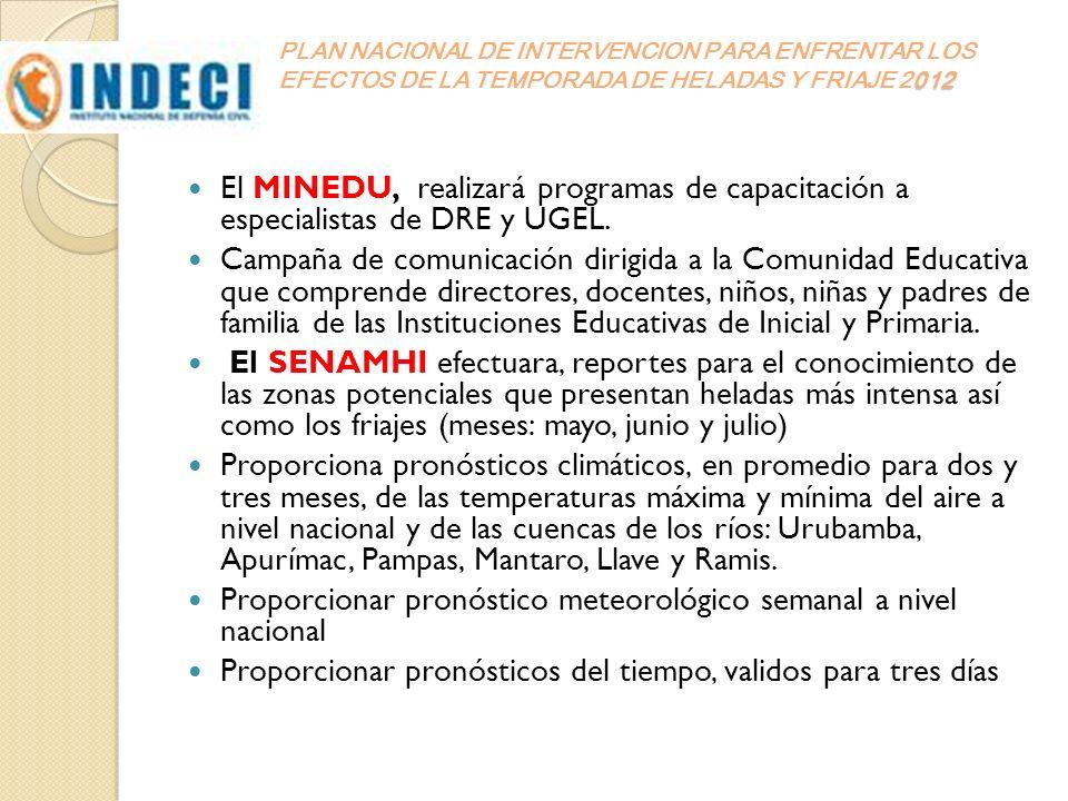 012 PLAN NACIONAL DE INTERVENCION PARA ENFRENTAR LOS EFECTOS DE LA TEMPORADA DE HELADAS Y FRIAJE 2012 El MINEDU, realizará programas de capacitación a