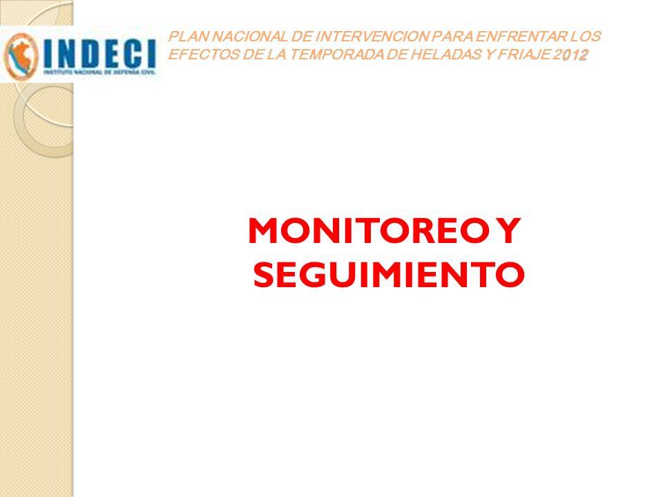 012 PLAN NACIONAL DE INTERVENCION PARA ENFRENTAR LOS EFECTOS DE LA TEMPORADA DE HELADAS Y FRIAJE 2012 MONITOREO Y SEGUIMIENTO