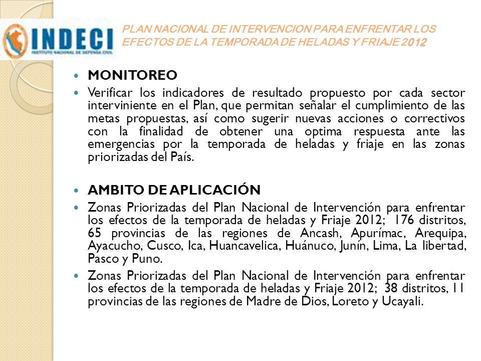 012 PLAN NACIONAL DE INTERVENCION PARA ENFRENTAR LOS EFECTOS DE LA TEMPORADA DE HELADAS Y FRIAJE 2012 MONITOREO Verificar los indicadores de resultado