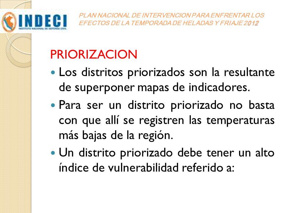 012 PLAN NACIONAL DE INTERVENCION PARA ENFRENTAR LOS EFECTOS DE LA TEMPORADA DE HELADAS Y FRIAJE 2012 PRIORIZACION Los distritos priorizados son la re