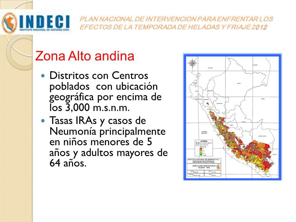 012 PLAN NACIONAL DE INTERVENCION PARA ENFRENTAR LOS EFECTOS DE LA TEMPORADA DE HELADAS Y FRIAJE 2012 Distritos con Centros poblados con ubicación geo