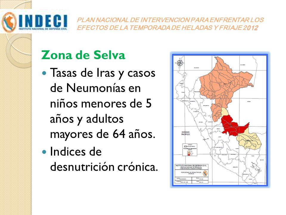 012 PLAN NACIONAL DE INTERVENCION PARA ENFRENTAR LOS EFECTOS DE LA TEMPORADA DE HELADAS Y FRIAJE 2012 Zona de Selva Tasas de Iras y casos de Neumonías
