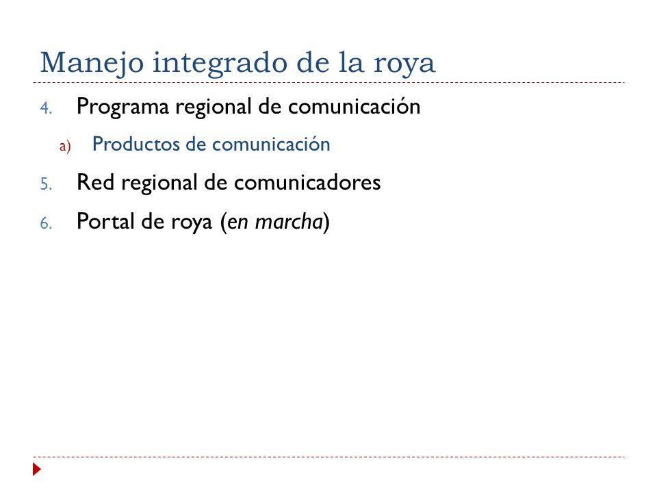 1. Manejo integrado de la roya 1. Programa regional de manejo integrado de la roya a) Buenas prácticas de manejo integrado con base en el conocimiento