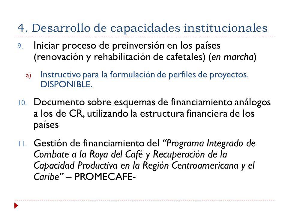 4.Desarrollo de capacidades institucionales 1. Programa regional de capacitación (en marcha) 2. Manual de extensionistas 3. Curso Regional de Caficult