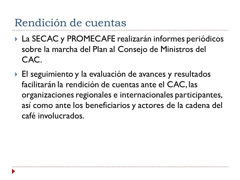 Organización para la ejecución Secretaría Ejecutiva del CAC y PROMECAFE: Responsables de realizar el seguimiento y monitoreo de los compromisos establecidos.