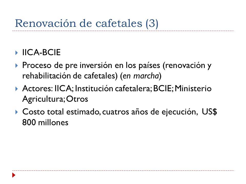Componentes y Costo Componentes: (i) Desarrollo de capacidades institucionales y locales para la gestión del combate a la roya y recuperación de la capacidad productiva; (ii) Manejo integrado, y control de la roya; (iii) Mejoramiento genético; (iv) Rehabilitación y/o renovación de cafetales e inversiones necesarias; (v) Atención a la población vulnerable productora de café.