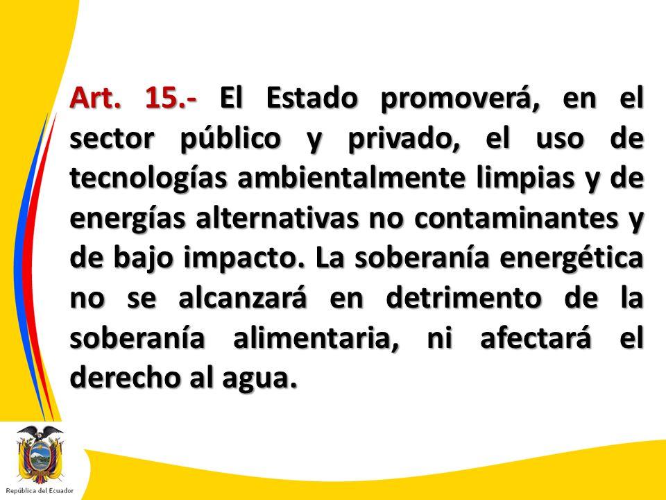 Art. 15.- El Estado promoverá, en el sector público y privado, el uso de tecnologías ambientalmente limpias y de energías alternativas no contaminante