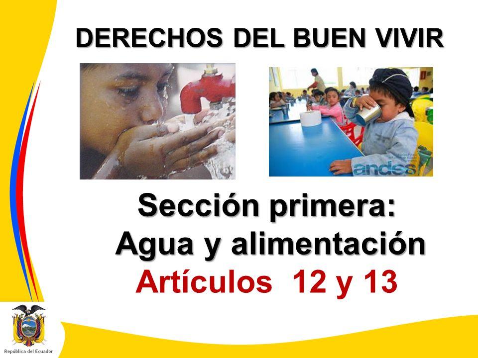 DERECHOS DEL BUEN VIVIR Sección primera: Agua y alimentación Agua y alimentación Artículos 12 y 13