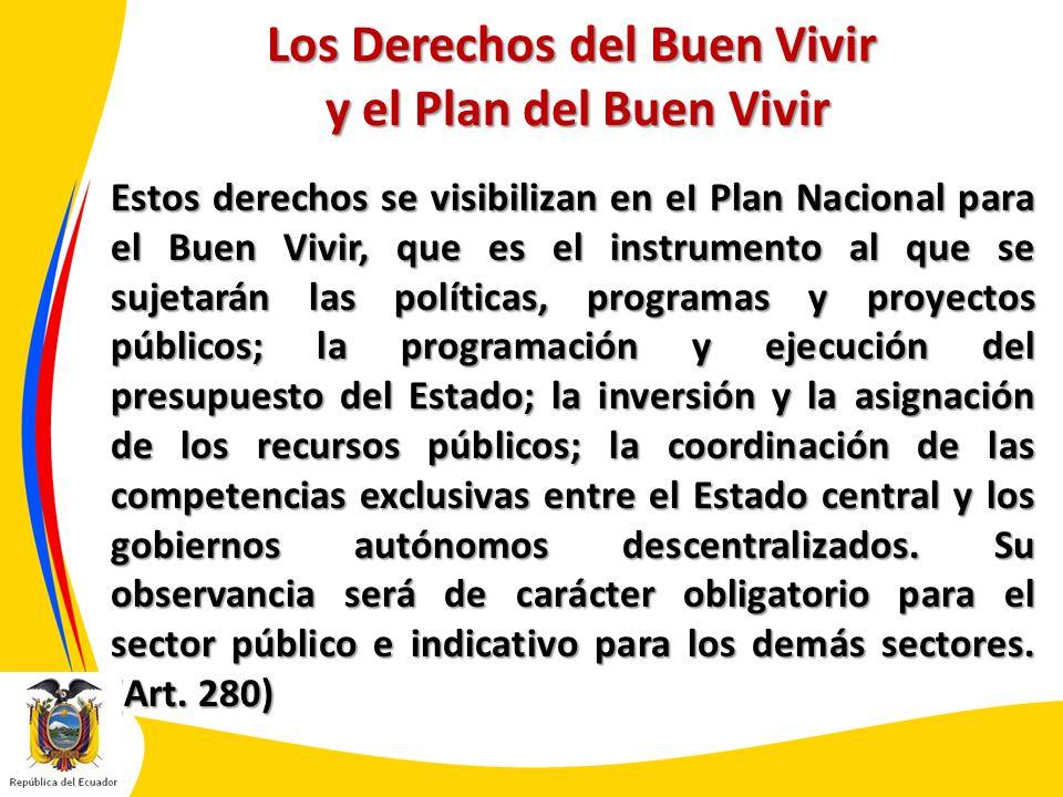 Los Derechos del Buen Vivir y el Plan del Buen Vivir Estos derechos se visibilizan en eI Plan Nacional para el Buen Vivir, que es el instrumento al qu