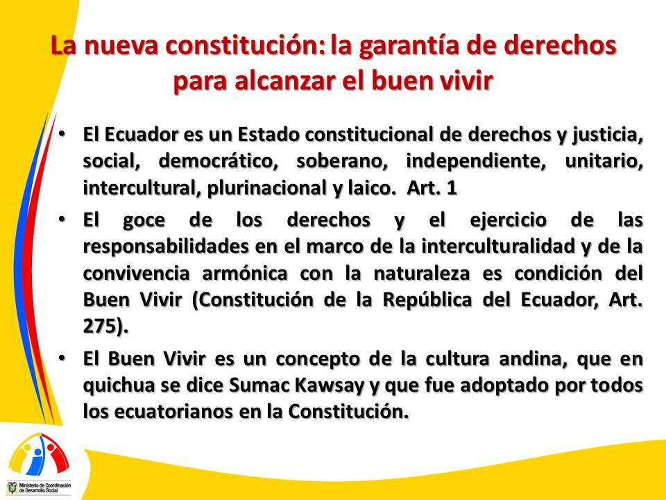 La nueva constitución: la garantía de derechos para alcanzar el buen vivir El Ecuador es un Estado constitucional de derechos y justicia, social, demo