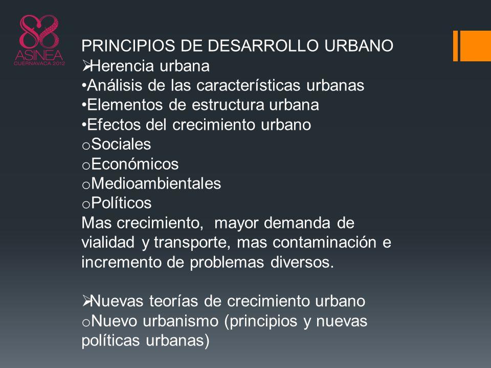 PRINCIPIOS DE DESARROLLO URBANO Herencia urbana Análisis de las características urbanas Elementos de estructura urbana Efectos del crecimiento urbano