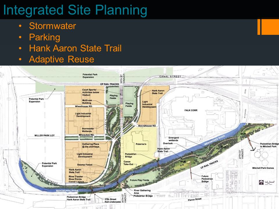 Integrated Site Planning Stormwater Parking Hank Aaron State Trail Adaptive Reuse