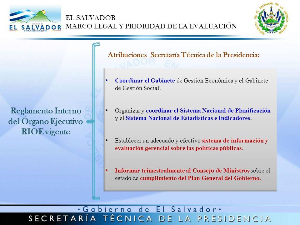 Reglamento Interno del Órgano Ejecutivo RIOE vigente Atribuciones Secretaría Técnica de la Presidencia: Coordinar el Gabinete de Gestión Económica y e